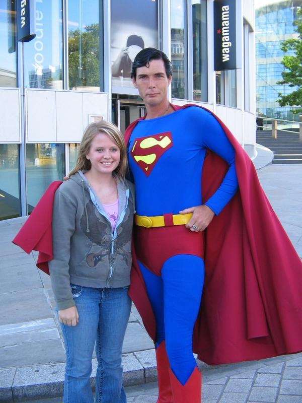 Mel with creepy Superguy