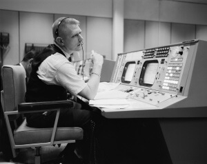 Gene Kranz at MCC Flight Director Console