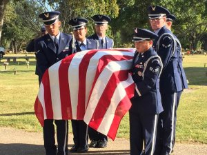 USAF Honor Guard escorting Grandpa's casket graveside