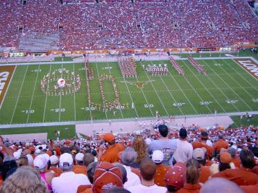 Longhorn Band starts the 'Script Texas'
