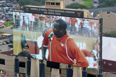 VY addresses the crowd