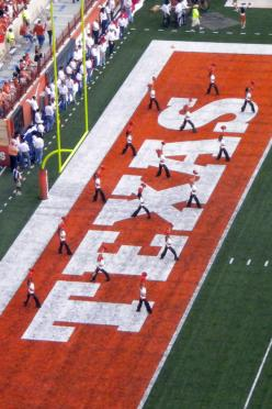 Texas Pom in the end zone