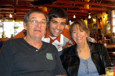 Andrew with Grandma and Grandpa at lunch