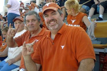 Dad and Roger celebrate another Longhorn victory