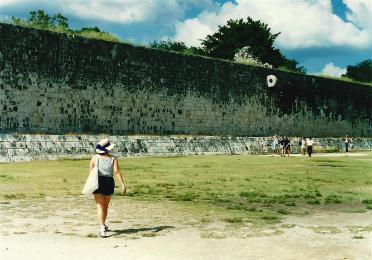 Chichen Itza ball court interior - note the hoop high on the wall
