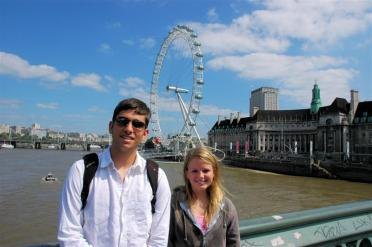 Andrew and Mel - with London Eye in background