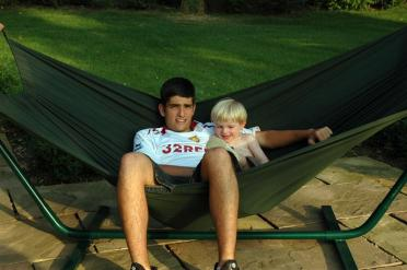 Andrew and Sam chill in the hammock